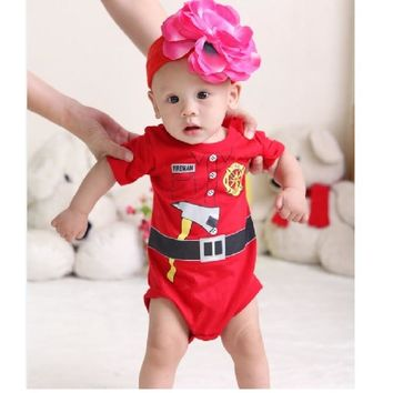 Fireman baby boy Bodysuit Short Sleeve Summer Jumpsuits body menino baby boy clothes months jumpsuit body bebe menina