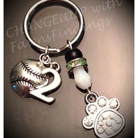 Baseball Key chain with a Paw Charm -  The Paw represents a mascot, perfect as a gift, school, club, team, banquet, seniors, Party Favors