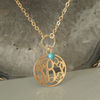 Round Monogram Necklace 1'' Inch - 18k Yellow Gold Plated Turquoise Bead - Personalized Monogrammed Pendant