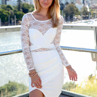 YOURS TRUELY DRESS , DRESSES, TOPS, BOTTOMS, JACKETS & JUMPERS, ACCESSORIES, 50% OFF , PRE ORDER, NEW ARRIVALS, PLAYSUIT, COLOUR, GIFT VOUCHER,,White,Green,LACE,BODYCON,LONG SLEEVES,MINI Australia, Queensland, Brisbane