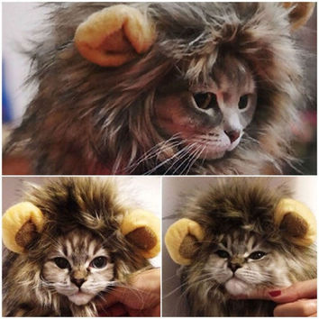 Hot Pet Cat Dog Costume Lion Mane Wig Great Gifts