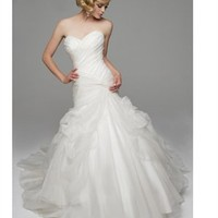 A-line sweetheart strapless 2012 organza white wedding dresses BAHD0039