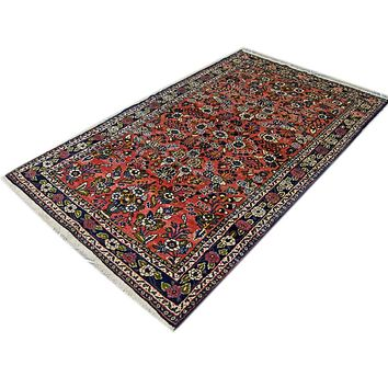 Oriental Milayer Persian Wool Tribal Rug, Orange/Blue