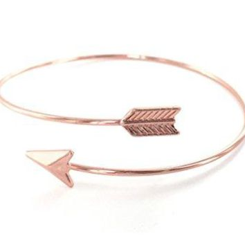 Arrow Bangle Bracelet  Adjustable  Wrapped Memory Wire  Rose Gold Color