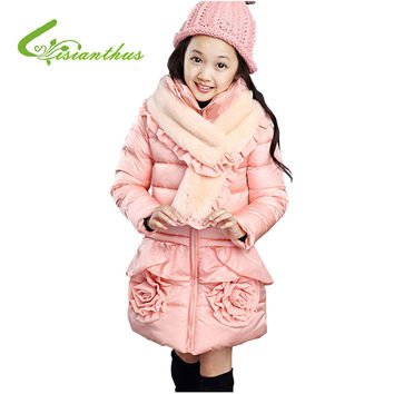 New Child Cotton Padded Coat Korean Style Girl Princess Children's Wear for Winter Pink Purple Simply Color Kids Jacket Coat