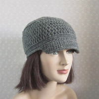 CIJ 15% Off - Gray Cadet Hat - Womens Crochet Military Cap - christmasinjuly Christmas In July