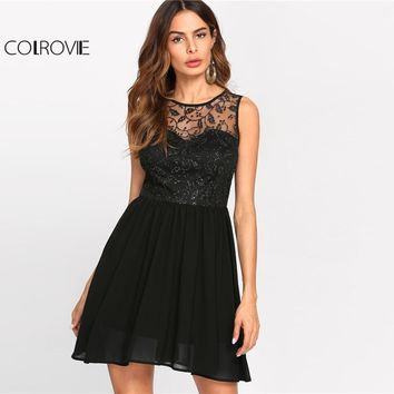 COLROVIE 2017 Sequin Mesh Overlay Front Party Dress Black Round Neck Sleeveless Fitted & Flared Dress Women A Line Plain Dress