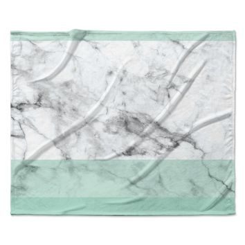"KESS Original ""Mint Marble Fade"" White Green Fleece Throw Blanket"