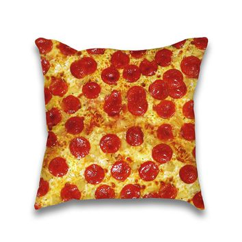 Pepperoni Pizza Print Throw Pillow