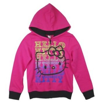 Hello Kitty Girls' Zip-Up Hoodie - Fuchsia