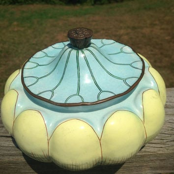 Antique Chinese Enamel on Copper Lidded Lotus Flower Dish ~ Art Deco China ~ As Is