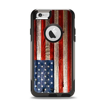 The Wooden Grungy American Flag Apple iPhone 6 Otterbox Commuter Case Skin Set