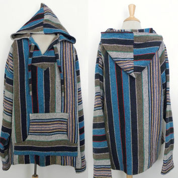 Vintage 70s Hoodie / Mexican Baja Surfer Sk8ter California Dreaming Hooded Pullover Poncho Top XL 46 48
