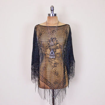 Vintage 90s 70s Black Lace Poncho Sheer Lace Shawl Floral Lace Cape Lace Blouse Lace Top Fringe Hippie Poncho Boho Poncho Gypsy Top S M L
