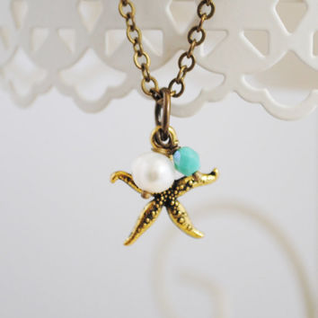 Antique Gold Starfish Necklace - Freshwater Pearl, Turquoise Czech Glass Bead