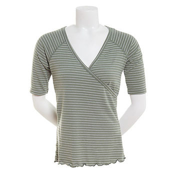 Juniors Derek Heart Elbow Sleeve Wrap Front V-Neck Top