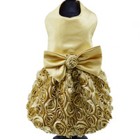 Gold Dog Harness Dress with Rose Skirt
