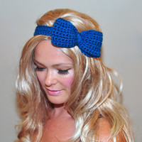 Bow Headband Blue Headwrap CHOOSE COLOR Sapphire Crochet Headband Girly Cute Adjustable Gift under 25