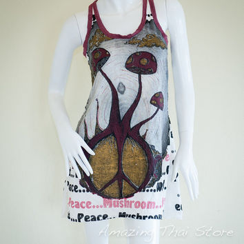 Mushroom Peace Design Crinkle Tank Top Dress Hippie Gypsy Boho Yoga Meditation Sure Weed Peace Size S M (White)