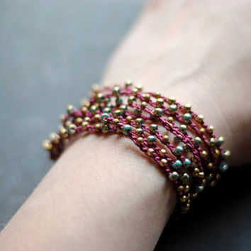 Burgundy and Bronze Crochet Wrap // Beaded Anklet // Beaded Bracelet // Convertible Wrap Jewelry // Beaded Boho Wrap A022 by Indigo Lunch