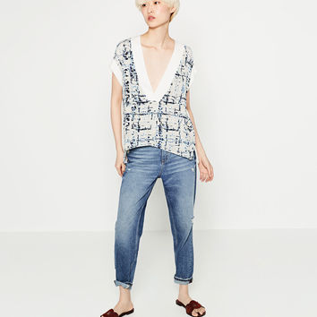 FLOWING PRINTED BLOUSE - Blouses-TOPS-WOMAN | ZARA United States
