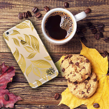Gold Iphone 6 Plus case clear, Fall leaves Iphone 6 case clear, Fall fashion accessory, Christmas gift for women stocking stuffer (1593)