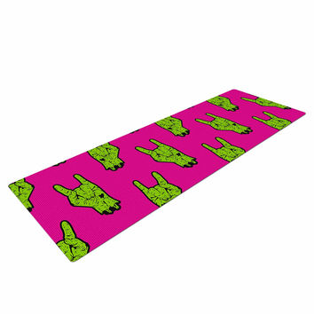 "KESS Original ""Zombie Rock"" Green Magenta Yoga Mat"