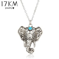 17KM Hot Vintage Elephant Pendant Necklace Boho Antique Blue Stone Choker Necklace Bohemia Bijoux Collares Bar Necklace