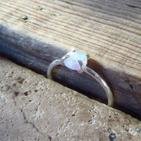 Claw Ring Sterling Silver with White Fire Opal Gemstone