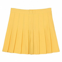 Yellow Pleated Mini Skirt