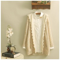 Poncho long hooded cardigan mori girl lace embroidery kimono mori girl lace patchwork wool women winter hippie Knitted Sweater
