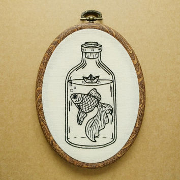 Goldfish in a Bottle with Paper Boat Hand Embroidery Pattern (PDF modern embroidery pattern)