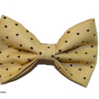 Beige and Black Polka Dot Hair Bow by craftsbyfrances on Etsy