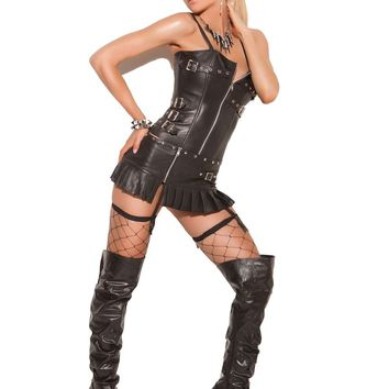 Leather pleated zip front mini skirt  Black
