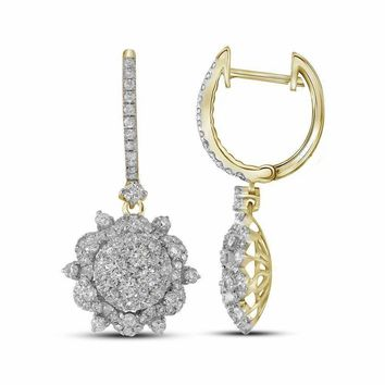 14kt Yellow Gold Women's Round Diamond Starburst Cluster Dangle Hoop Earrings 2-1-4 Cttw - FREE Shipping (USA/CAN)