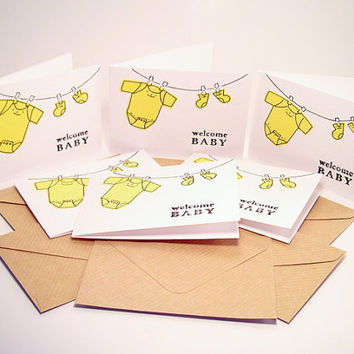 Baby Shower Invitations -Boy or Girl Baby Shower invites  - Baby Greeting Card - Welcome Baby Mini Cards