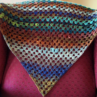 Crocheted Triangle Shawl Wrap Granny Square