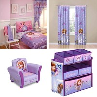Toddler Bedding Collection Set, Sofia the First Room in a Box Toy Organizer