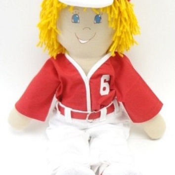 boy cloth rag doll blond handmade homemade rag doll baseball ragdoll cloth doll rag NF143
