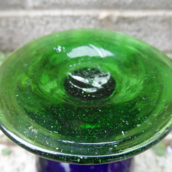 Antique glass goblet - Bristol blue and green antique coloured art glass goblet - hand blown glass - vintage blue glass decor