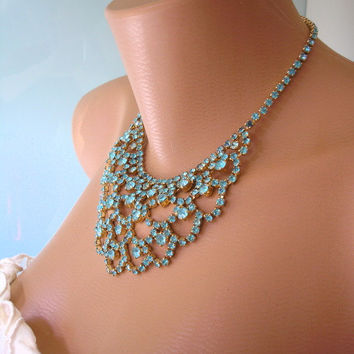 Great Gatsby Jewelry, Art Deco Wedding Necklace, Turquoise Rhinestone Choker, Teal Choker, Aqua Necklace, Turquoise Diamante, Bridal Jewelry
