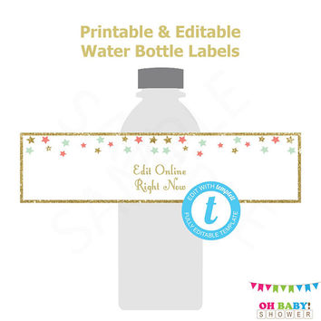 Water Bottle Label Template, Water Bottle Labels Baby Shower, Twinkle Twinkle Little Star, Coral Mint Gold Baby Shower, Gold Stars, STCMG