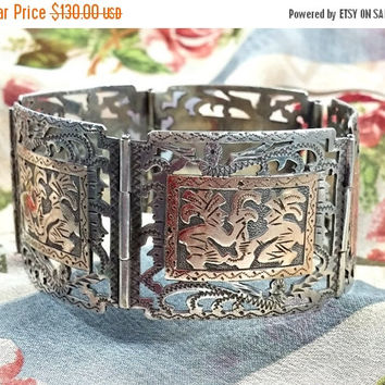 AzTEC mAYaN sILVeR pANeL bRACeLET sILVeR aND gOLd Signed Guatemala 900 MTA Hand Crafted to a High Standard With Intricate Detail