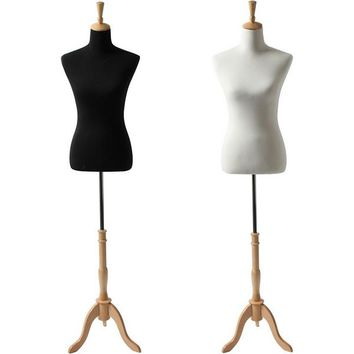AFD-065A Ladies French Dress Form with Natural Wood Tripod Base