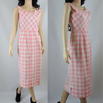 Pink Gingham Wiggle Sheath Dress, Fifties Wiggle Dress, Small