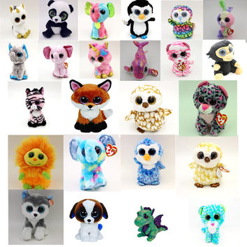 TY Beanie Boos Cute Slick Fox Plush Toys 6'' 15cm Ty Plush Animals Big Eyes Eyed Stuffed Animal Soft Toys for Kids Gifts