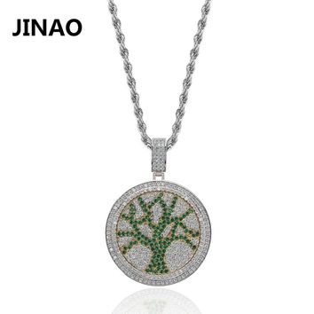 JINAO The Tree Of Life Necklace Cubic Zircon Hip Hop Jewelry Stainless Steel Chain Iced Out Chain Spinner Pendant Men Gift Women