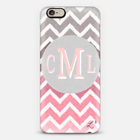 Pink White Gray Chevron Custom Slim Phone Case with Initials
