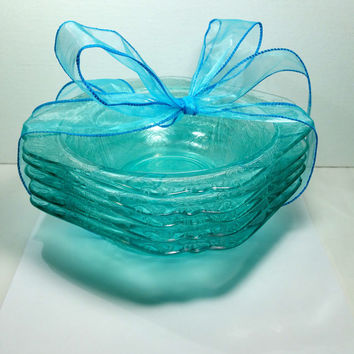 Blue Depression Glass Bowls 5 Wedding Buffet Candy Bar Dish Candy Nut Dish Turquoise Pressed Fancy Glass Dishes