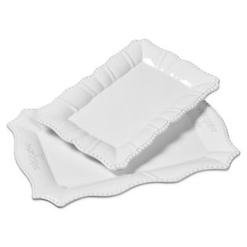 Tabletops Unlimited® Gallery Le Provence 2-Piece Rectangular Serving Platter Set in White